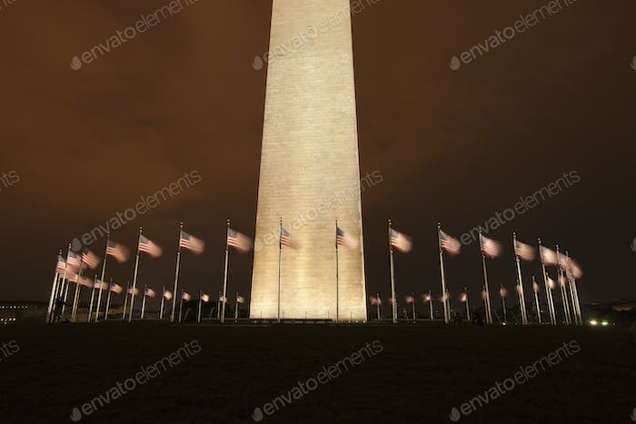 Flags at Base of the Washington Monument in Washington DC at Night