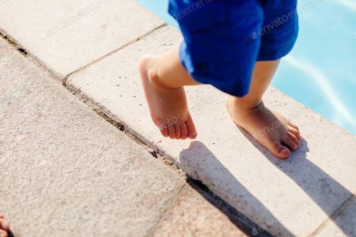 child walk feet close up