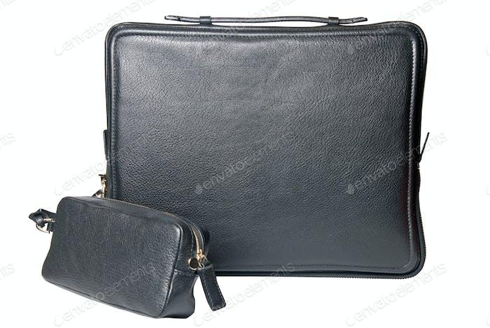Luxus schwarze Leder männliche Tasche für Notebook isoliert auf weiß
