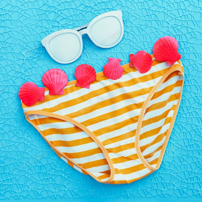 Bathing panties and sunglasses. Beach Fashion Art
