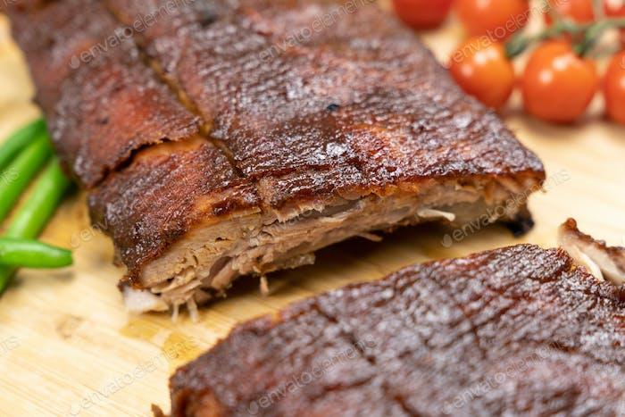 Oven baked BBQ pork ribs