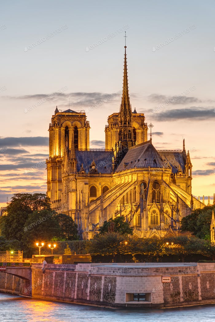 The Cathedral of Notre Dame at sunset
