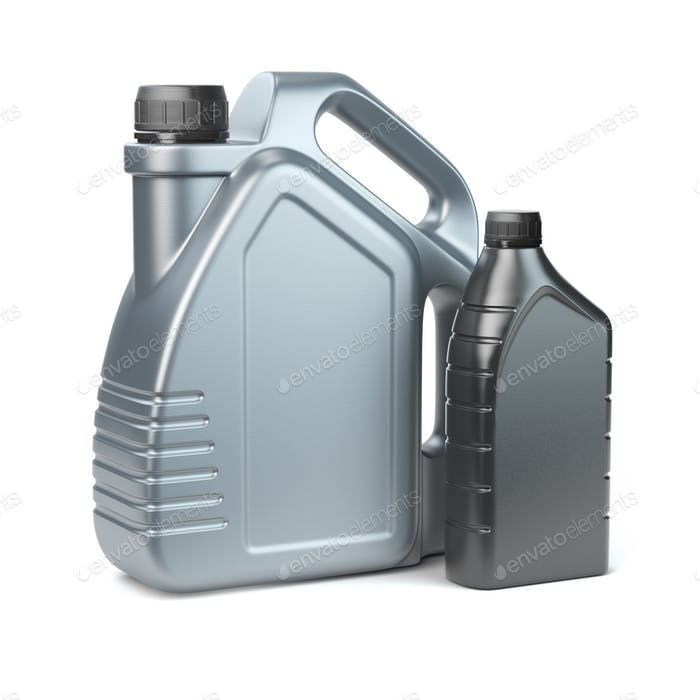 Plastic canisters for motor oil on white isolated background.