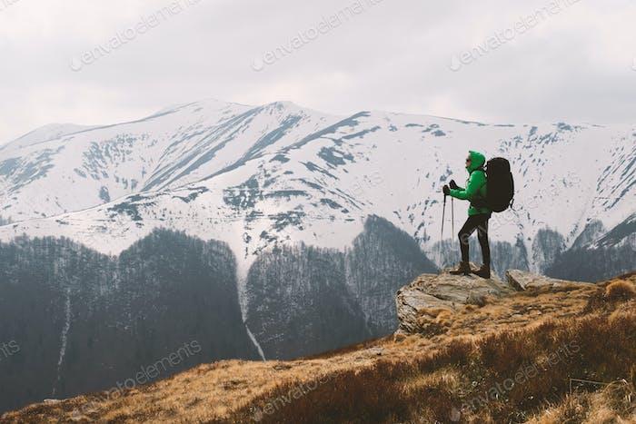 Amazing landscape with snowy mountains range