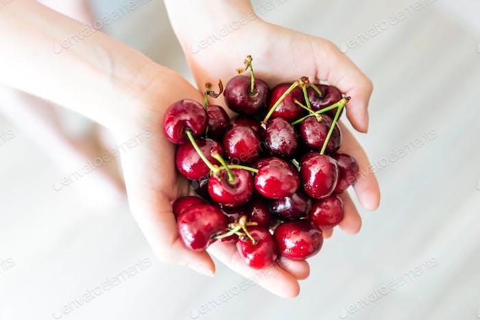 Handful of organic cherries