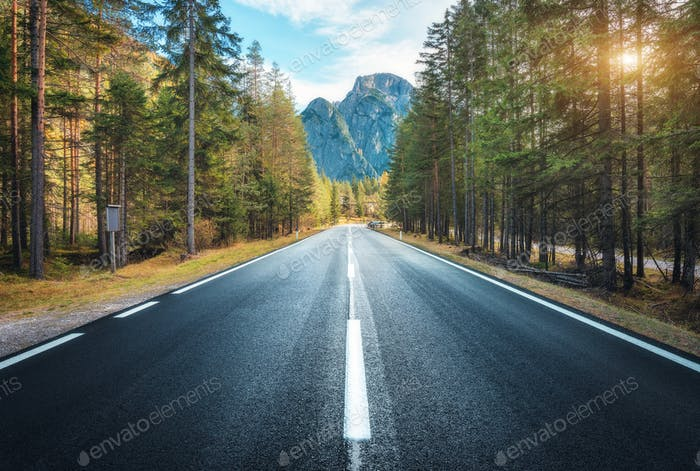 Road in summer forest at sunset in Italy. Mountain roadway