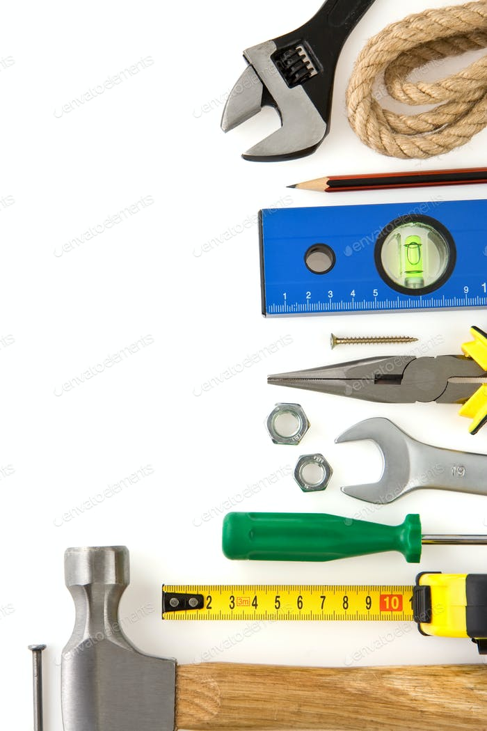 set of construction tools isolated on white