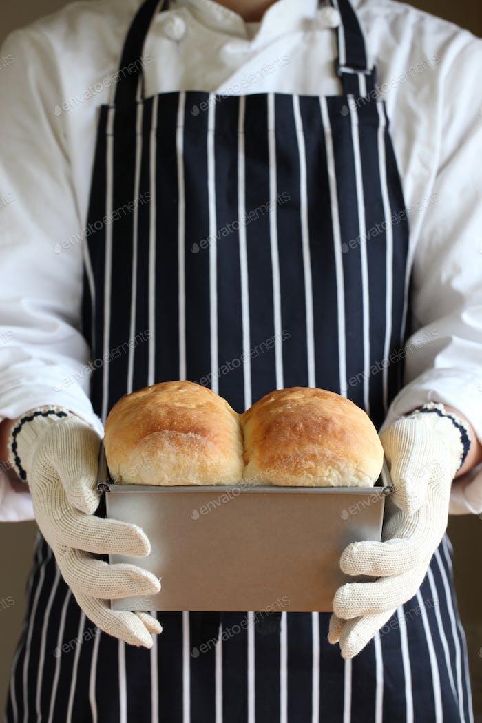 freshly baked homemade white bread