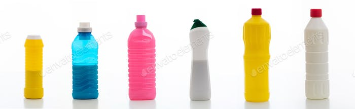 Cleaning supplies bottles set isolated against white background.