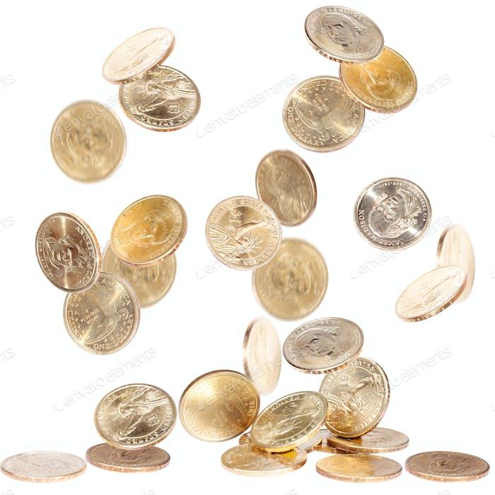 Falling One Dollar Coins