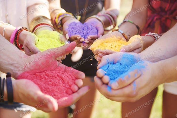 Musikfestival mit Farbpudern