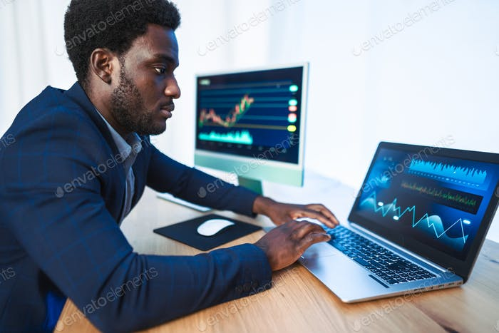 Business trader man working on crypto currency markets with blockchain technology