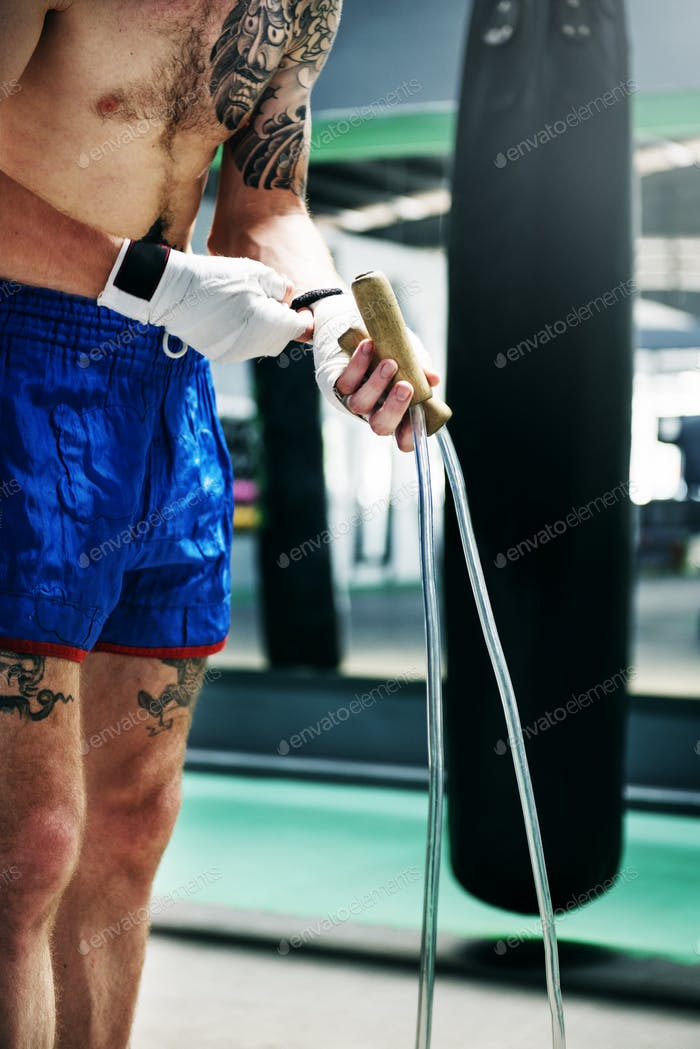 Boxer Jump Rope Training Strength Workout Concept