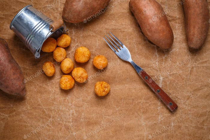 Mashed sweet potato and cheese balls
