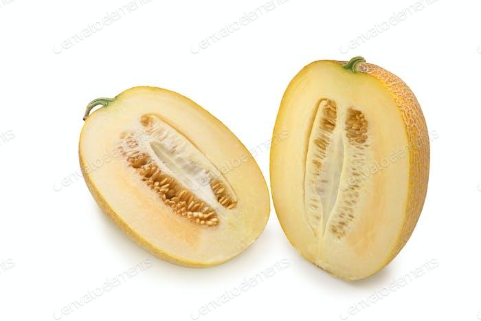 Cantaloupe Melone in Scheiben schneiden.