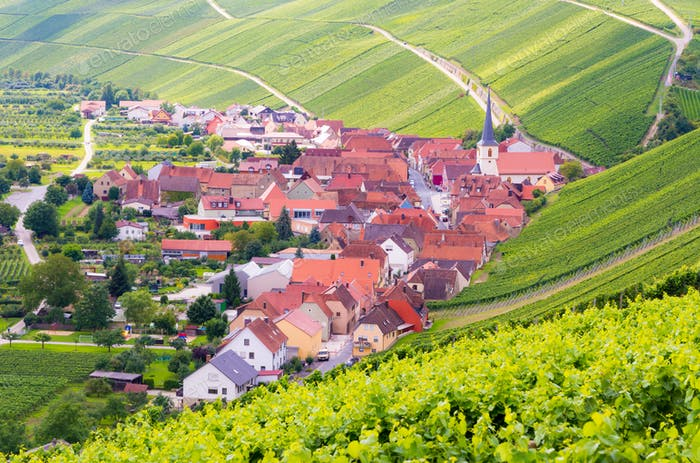 Village of Eschendorf in a wine-growing district in Franconia