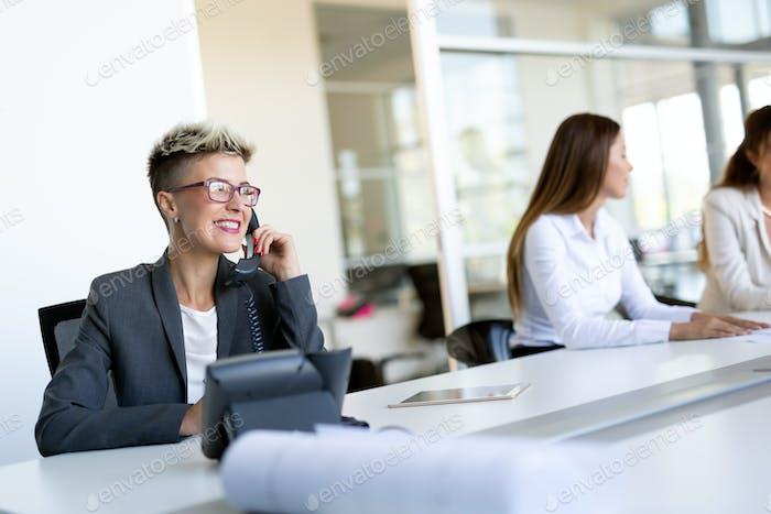 Beautiful businesswoman working sitting at her desk