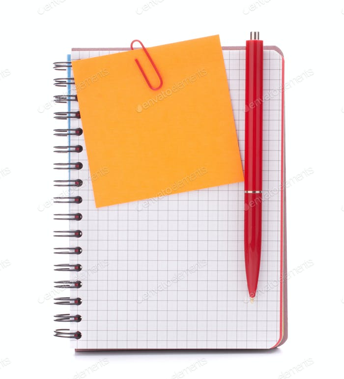 notebook with notice paper and pen