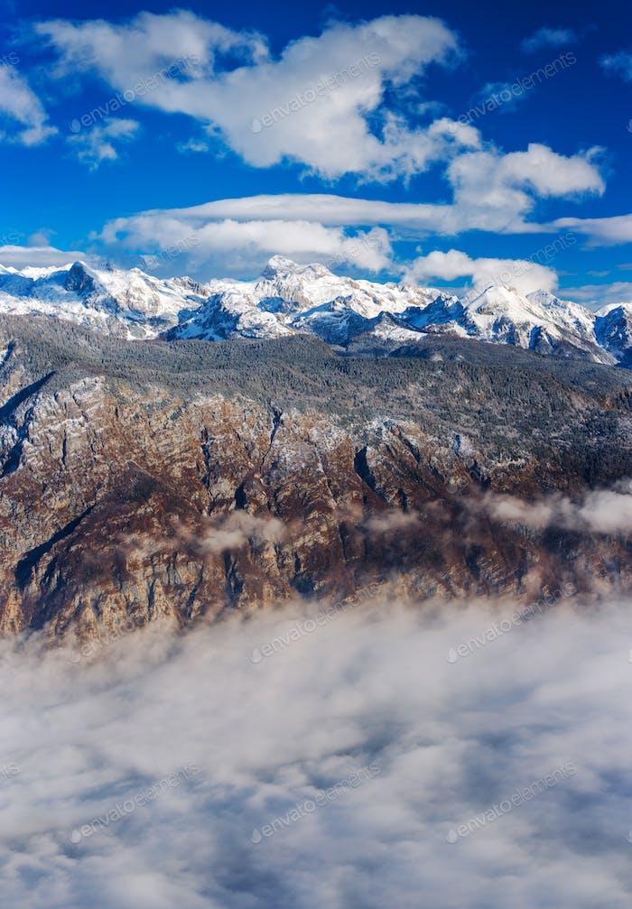 Super resolution stacked landscape of Triglav mountain top in Sl