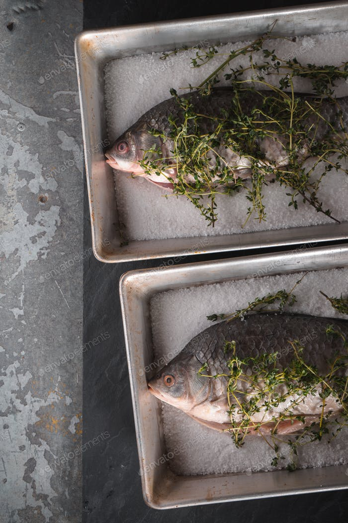 Two raw crucians with salt and rosemary in the baking dishes vertical