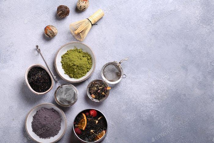 Sortiment Schwarzer und grüner Tee