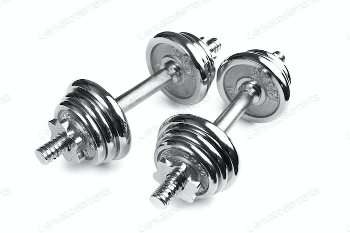 Chromed fitness dumbbells