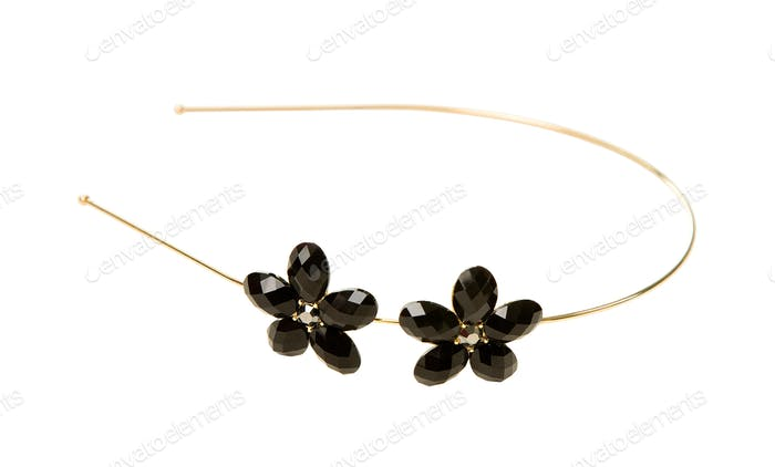 Carved crystal flowers golden diadem