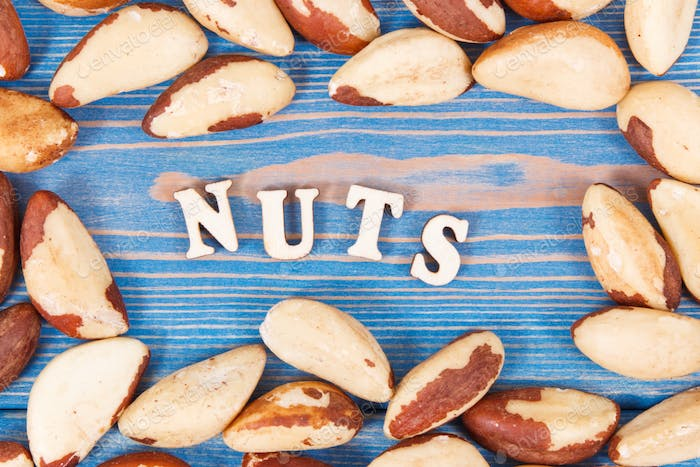 Brasil nuts containing natural minerals and vitamin, health nutrition