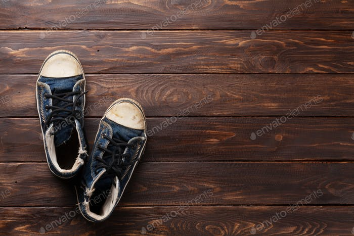 Sneakers on wooden background