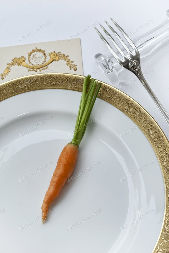 Carrot on a porcelain plate