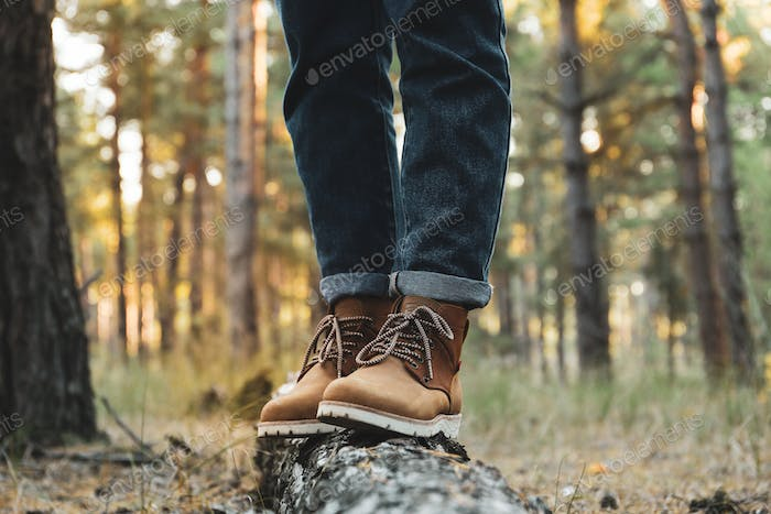 Person in boots and jeans on trunk, space for text
