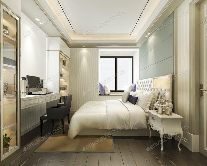 classic luxury bedroom suite in hotel with tv and working table and bookshelf