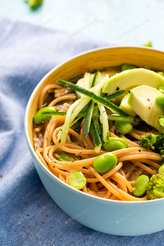 Colorful Bowl with Noodles, Avocado,Broccoli and Edamame Beans. Clean Eating