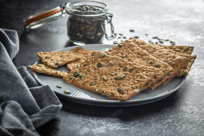 The  crispy bread with pumpkin seeds. Knackebrot