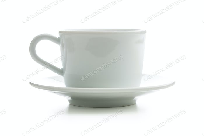 White cup with saucer.