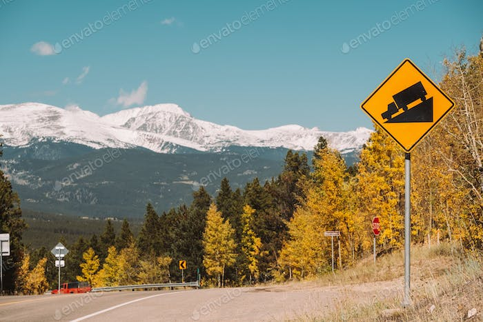 Steep grade truck road sign on highway