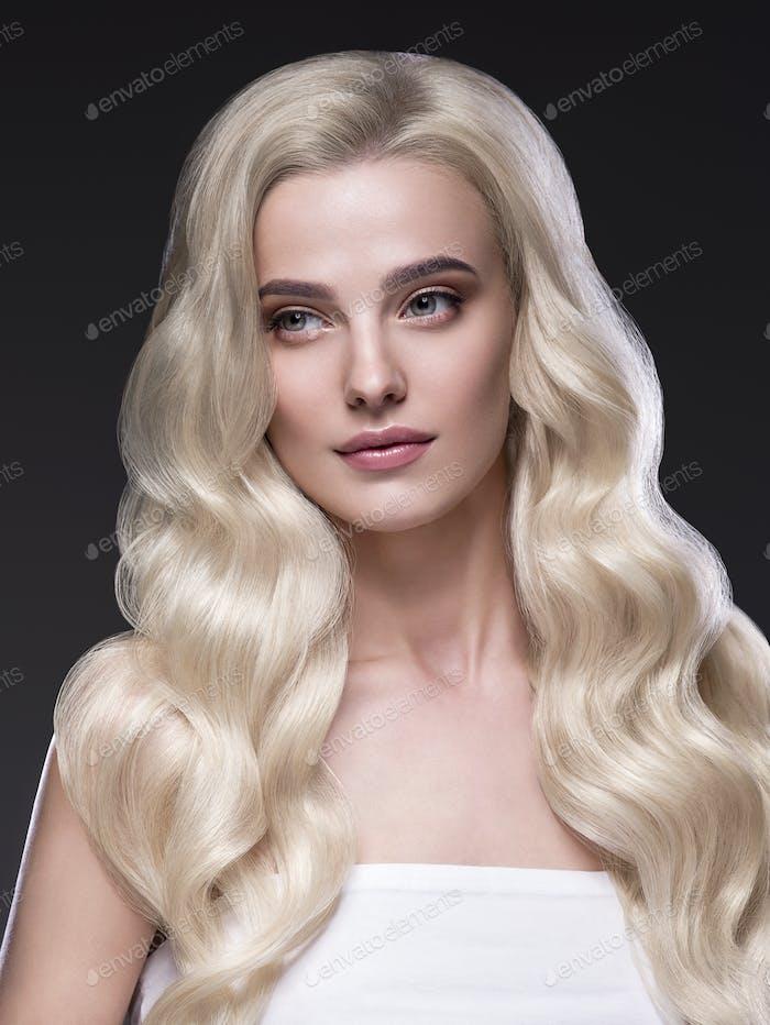 Beautiful long perfect hair blonde  woman healthy skin fashion make up natural hairstyle