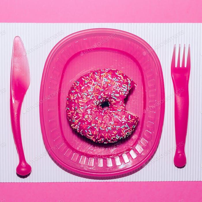 Pink donuts. Fast food minimal art