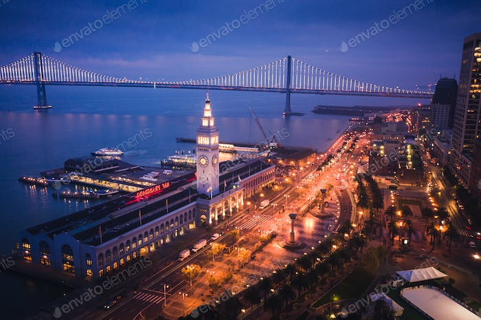 Aerial View of San Francisco Ferry Building at Dusk