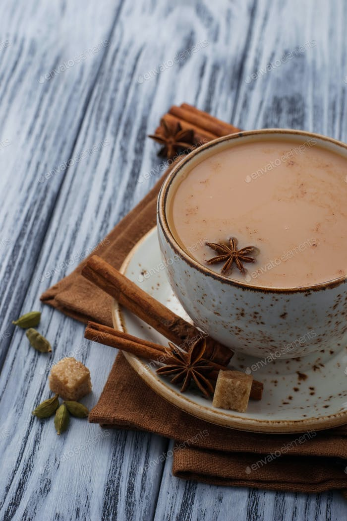 Indian masala tea with spices
