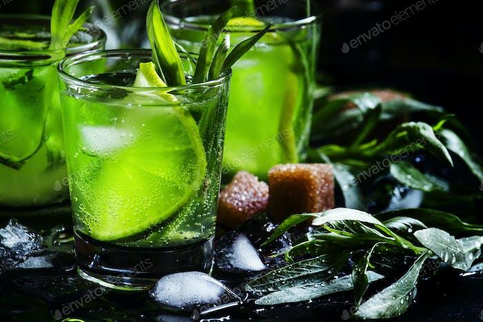 Alkoholischer grüner Cocktail mit Limette, Zitronensaft, Rohrzucker, Soda, zerstoßenem Eis und Estragon
