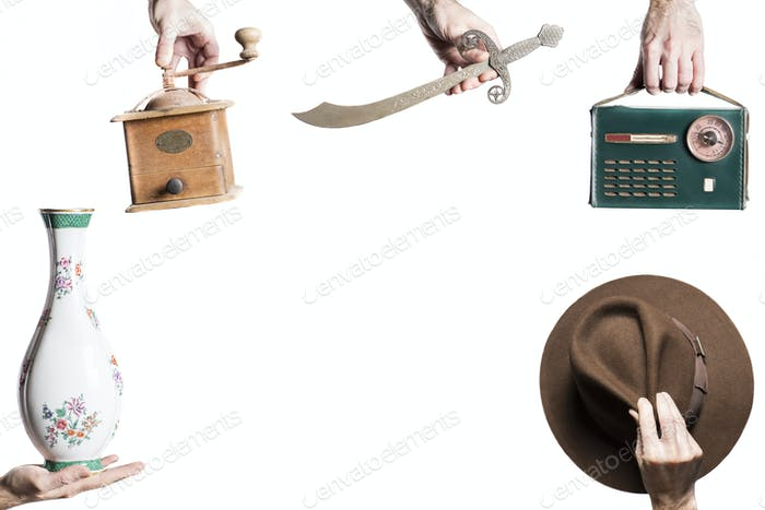 isolated set of objects for an antique market