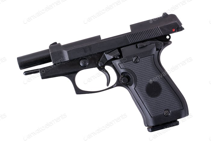 Black semi automatic handgun on a white background