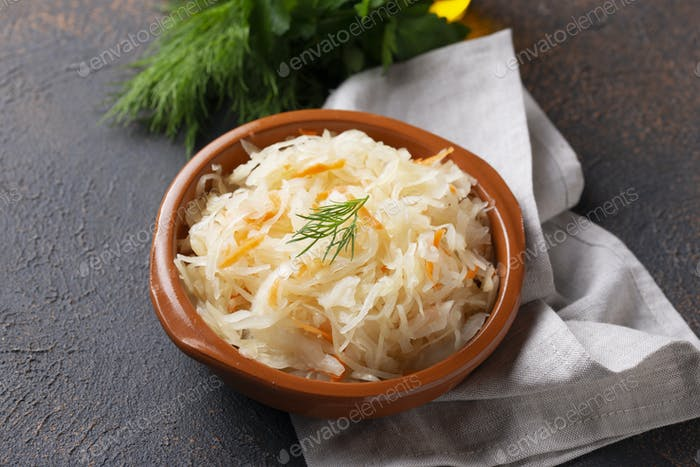 Homemade sauerkraut or pickled cabbage