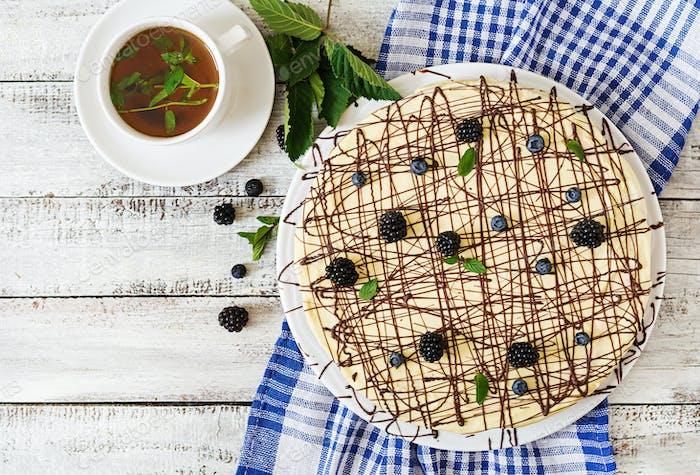 "Chocolate Cake ""Bird's milk"". Top view"