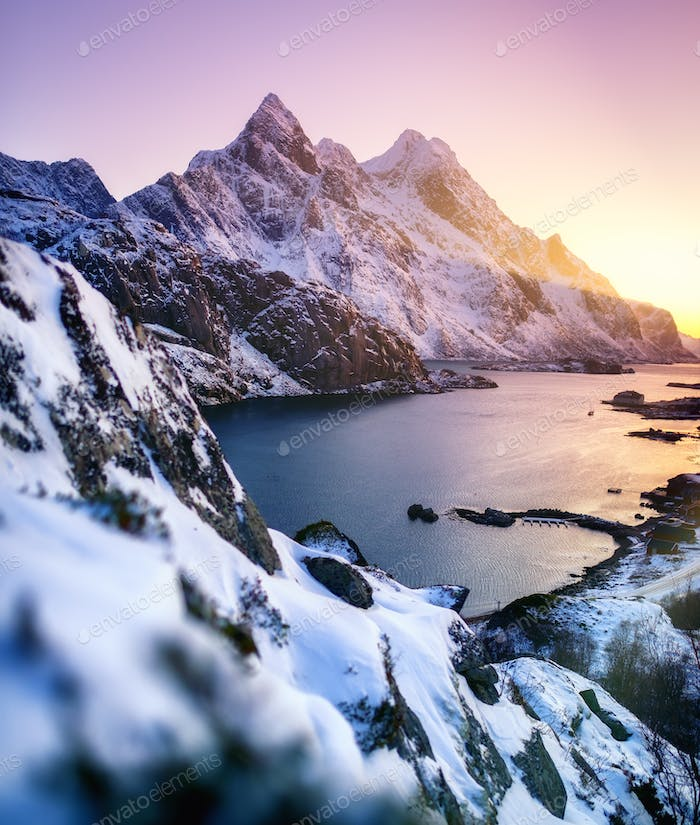 Mountain ridge near the ocean. Beautiful natural landscape in the Norway.