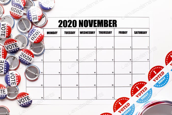 Red white and blue color buttons with calendar
