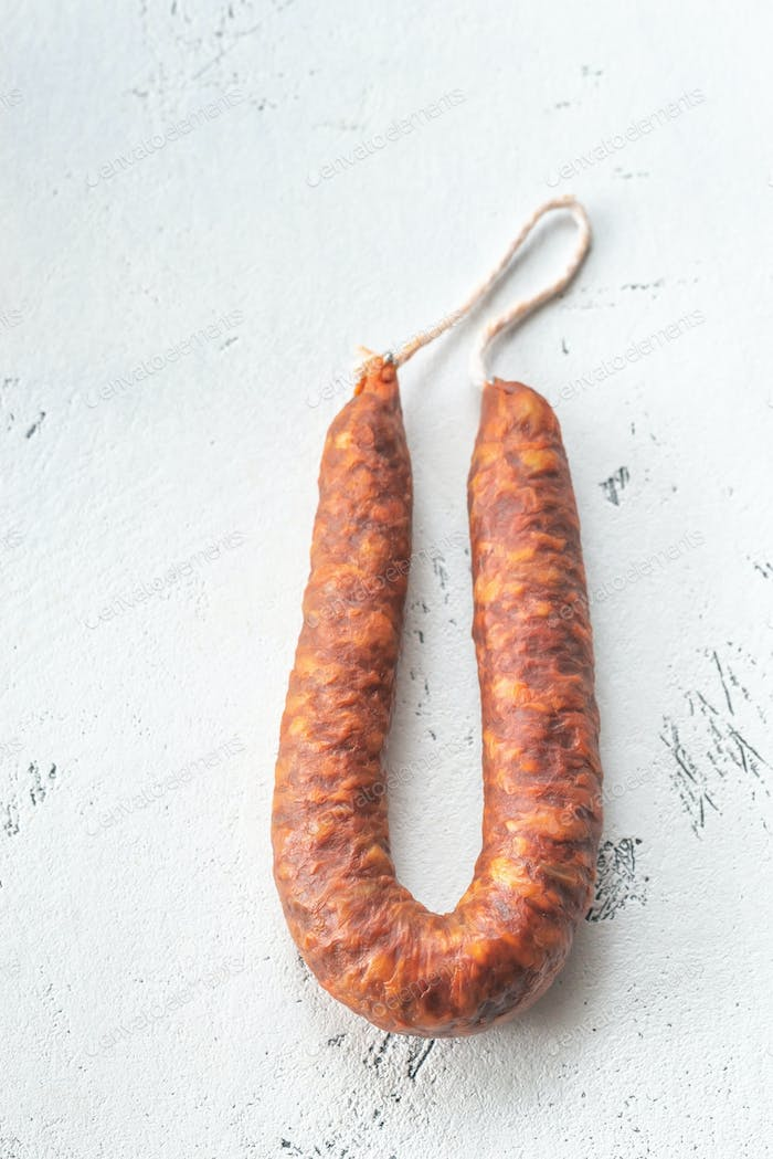 Spanish chorizo on the white background