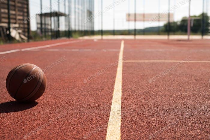 Ball in Basketball Court