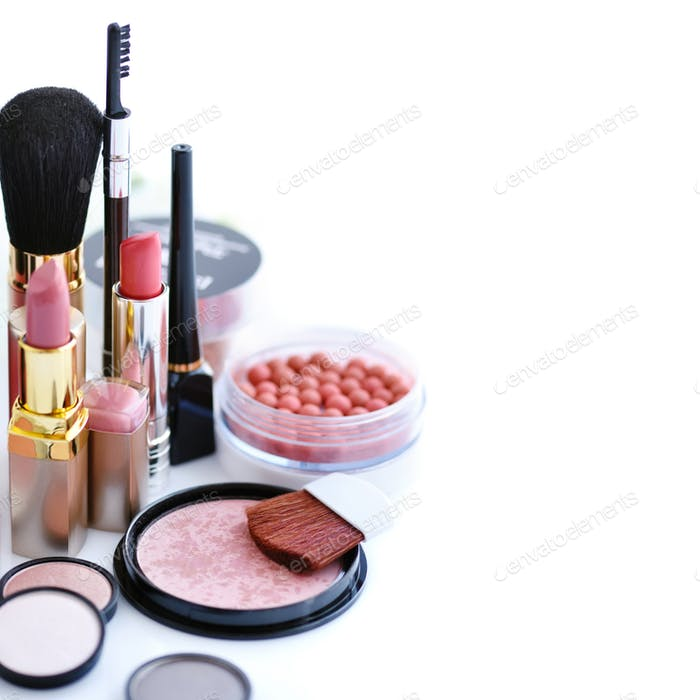 Set of decorative cosmetic on a white background. Beauty and mak